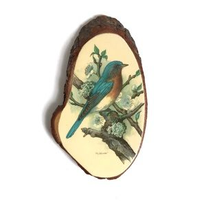 Vintage Natural Wood Slab With Perched Bluebird
